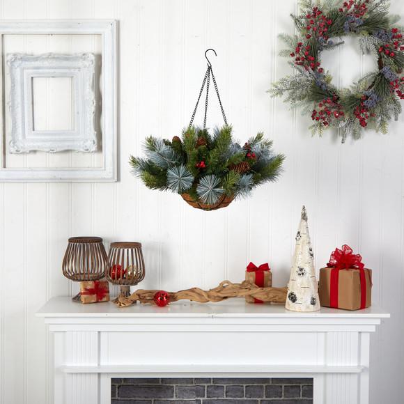 24 Holiday Pre-Lit 30 LED Lights Pine and Berries Hanging Basket - SKU #P1810 - 4