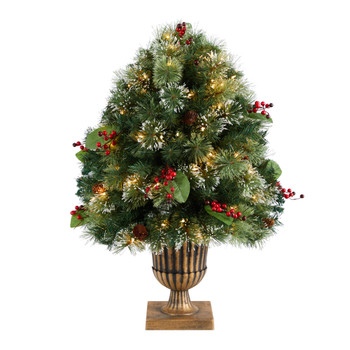 3 Holiday Pre-Lit Snow Tip Greenery Berries and Pinecones Plant in Urn with 100 LED Lights - SKU #P1811