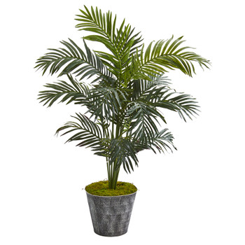 52 Paradise Palm Artificial Tree in Black Embossed Tin Planter - SKU #T1014