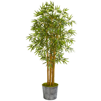 5 Bamboo Artificial Tree in Black Embossed Tin Planter - SKU #T1015