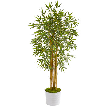 5 Bamboo Artificial Tree in White Tin Planter - SKU #T1017
