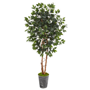 5.5 Ficus Artificial Tree in Decorative Tin Planter - SKU #T1020