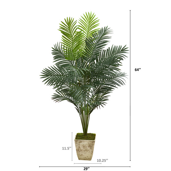 64 Paradise Palm Artificial Plant in Country White Planter - SKU #T1023 - 1