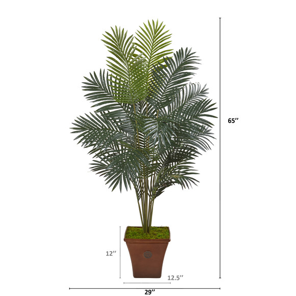 65 Paradise Palm Artificial Plant in Brown Planter - SKU #T1025 - 1