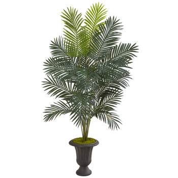 68 Paradise Palm Artificial Plant in Decorative Brown Urn - SKU #T1026