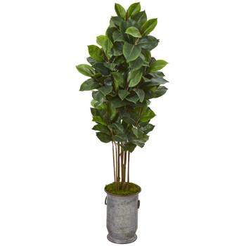 68 Rubber Leaf Artificial Tree in Vintage Metal Planter - SKU #T1027