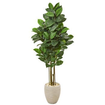 65 Rubber Leaf Artificial Tree in Sand Colored Planter - SKU #T1028