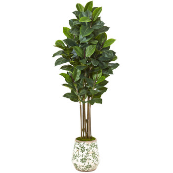 63 Rubber Leaf Artificial Tree in Floral Print Planter - SKU #T1029