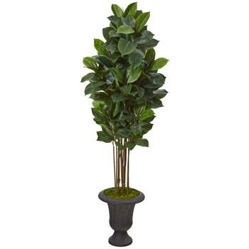 64 Rubber Leaf Artificial Tree in Decorative Brown Urn - SKU #T1030