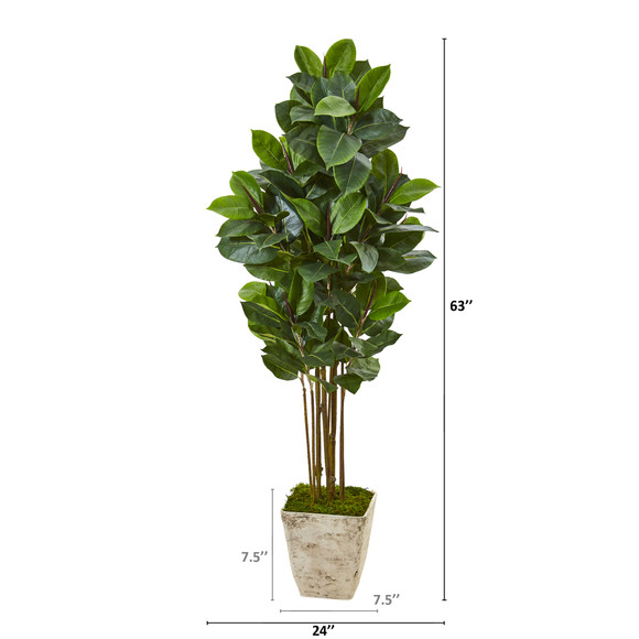 63 Rubber Leaf Artificial Tree in Country White Planter - SKU #T1031 - 1