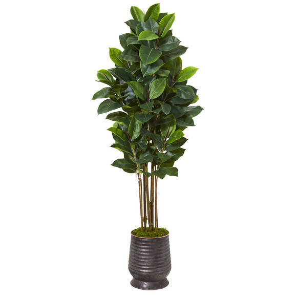 64 Rubber Leaf Artificial Tree in Ribbed Metal Planter - SKU #T1032