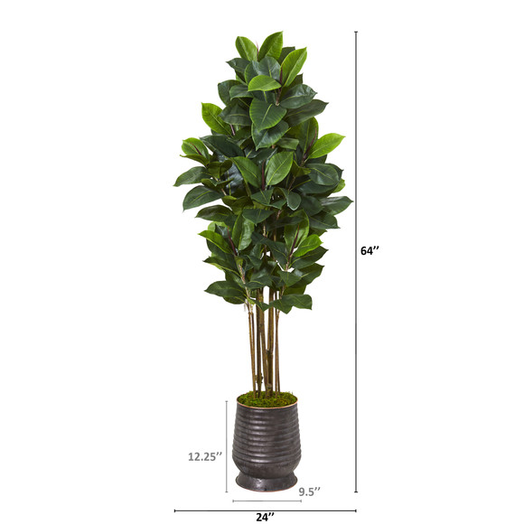 64 Rubber Leaf Artificial Tree in Ribbed Metal Planter - SKU #T1032 - 1