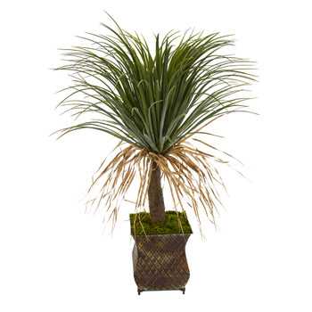 37 Pony Tail Palm Artificial Plant in Decorative Metal Planter - SKU #T1035