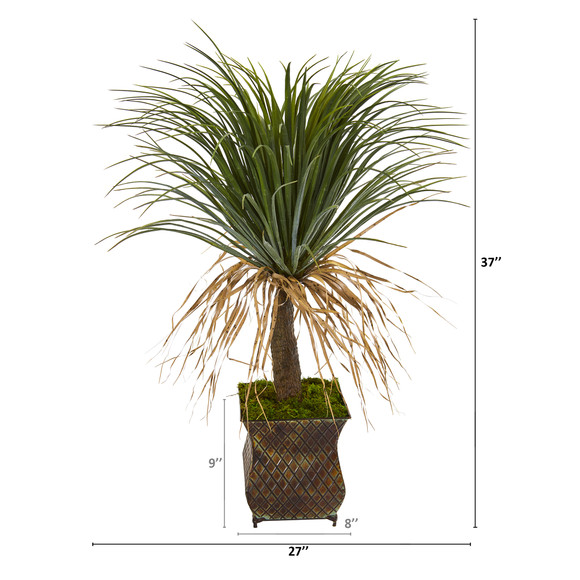 37 Pony Tail Palm Artificial Plant in Decorative Metal Planter - SKU #T1035 - 1