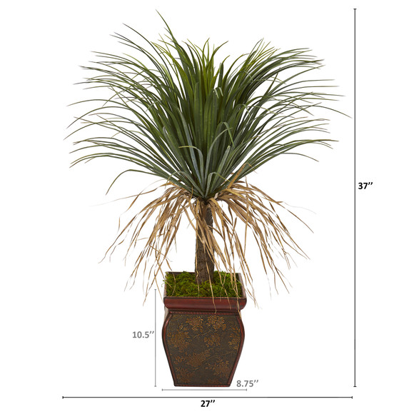 37 Pony Tail Palm Artificial Plant in Decorative Planter - SKU #T1036 - 1