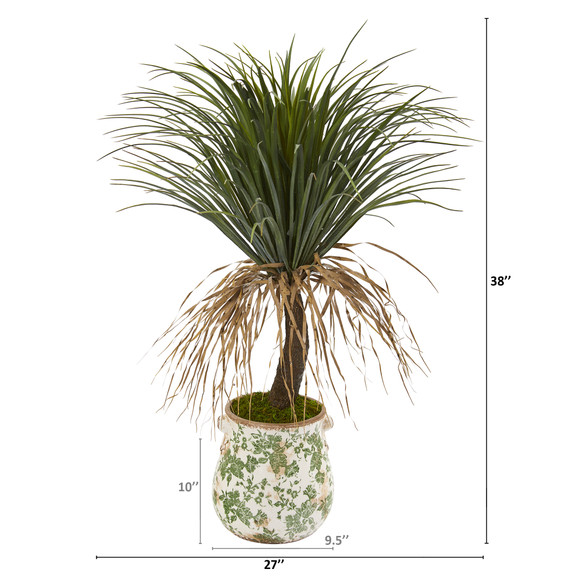 38 Pony Tail Palm Artificial Plant in Floral Planter - SKU #T1037 - 1