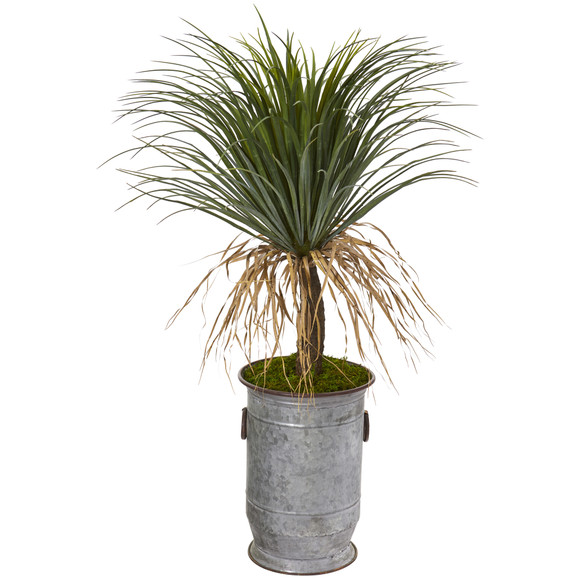 39 Pony Tail Palm Artificial Plant in Vintage Metal Planter - SKU #T1038