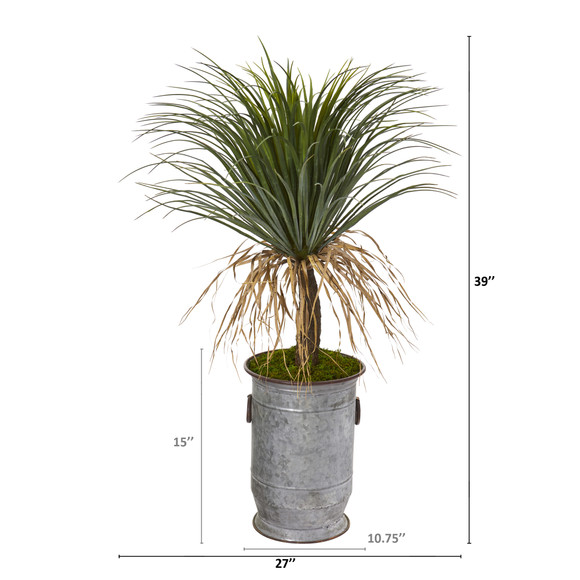39 Pony Tail Palm Artificial Plant in Vintage Metal Planter - SKU #T1038 - 1