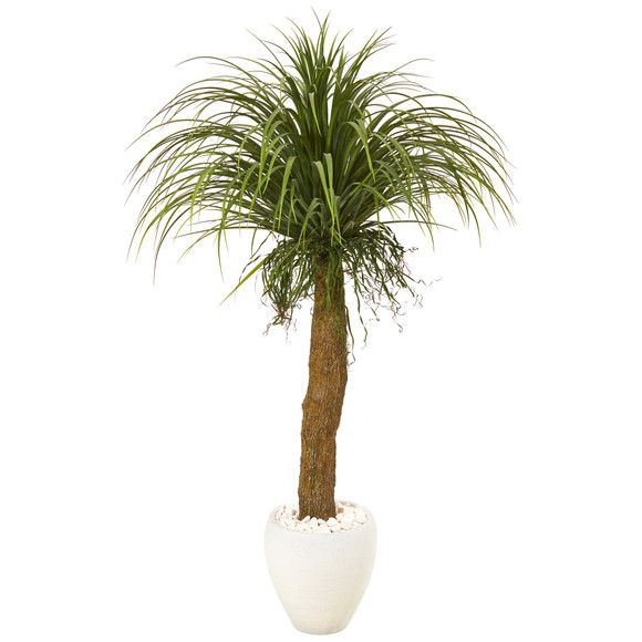 5 Pony Tail Palm Artificial Plant in White Planter - SKU #T1040