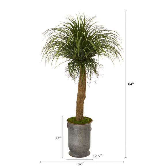 64 Pony Tail Palm Artificial Plant in Copper Trimmed Metal Planter - SKU #T1041 - 1