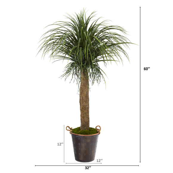 5 Pony Tail Palm Artificial Plant in Decorative Metal Pail with Rope - SKU #T1044 - 1