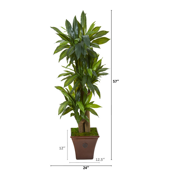 57 Corn Stalk Dracaena Artificial Plant in Brown Planter Real Touch - SKU #T1045 - 1
