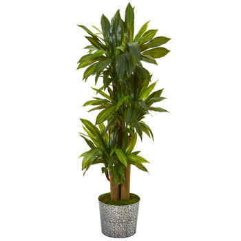 58 Corn Stalk Dracaena Artificial Plant in Black Embossed Tin Planter Real Touch - SKU #T1047