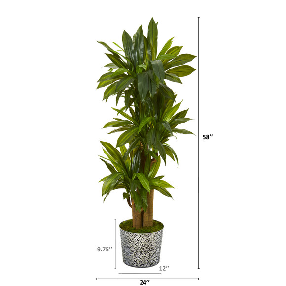 58 Corn Stalk Dracaena Artificial Plant in Black Embossed Tin Planter Real Touch - SKU #T1047 - 1