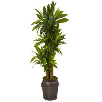 5 Corn Stalk Dracaena Artificial Plant in Metal Planter Real Touch - SKU #T1048