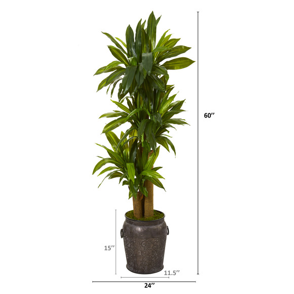 5 Corn Stalk Dracaena Artificial Plant in Metal Planter Real Touch - SKU #T1048 - 1