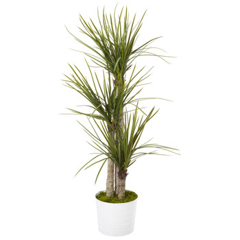 56 Yucca Artificial Tree in Tin White Planter - SKU #T1051