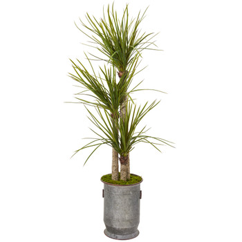 67 Yucca Artificial Tree in Copper Trimmed Metal Planter - SKU #T1054