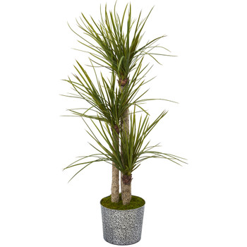 59 Yucca Artificial Tree in Black Embossed Tin Planter - SKU #T1055