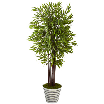 64 Bamboo Artificial Tree in Decorative Tin Bucket - SKU #T1056
