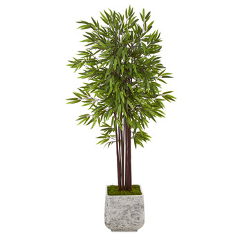 5.5 Bamboo Artificial Tree in White Planter - SKU #T1060