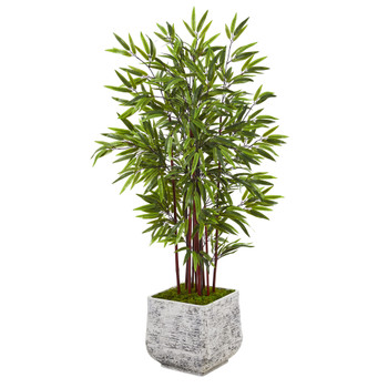 55 Bamboo Artificial Tree in White Planter - SKU #T1062