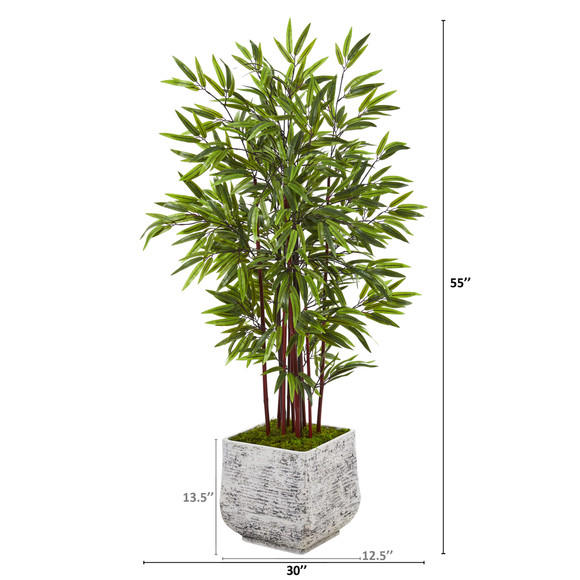 55 Bamboo Artificial Tree in White Planter - SKU #T1062 - 1