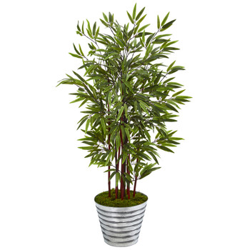 57 Bamboo Artificial Tree in Decorative Tin Bucket - SKU #T1064