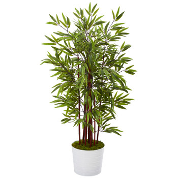 54 Bamboo Artificial Tree in White Tin Planter - SKU #T1066