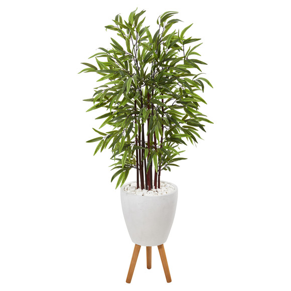 55 Bamboo Artificial Tree in White Planter with Stand - SKU #T1068