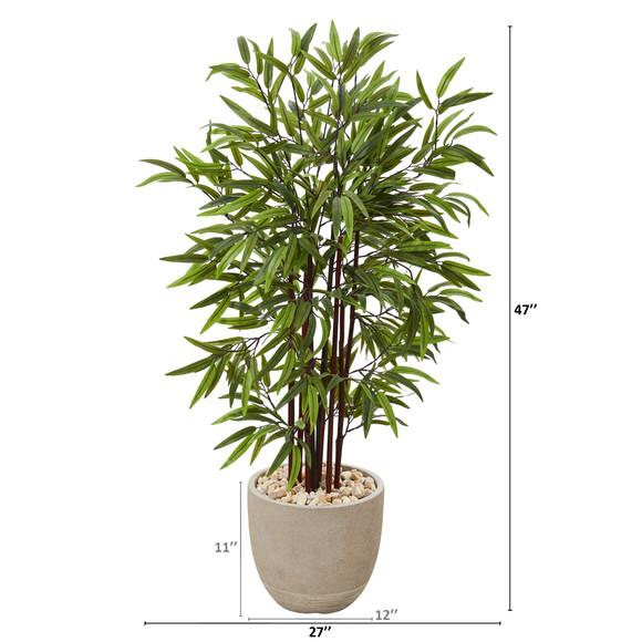 47 Bamboo Artificial Tree in Sandstone Planter - SKU #T1070 - 1