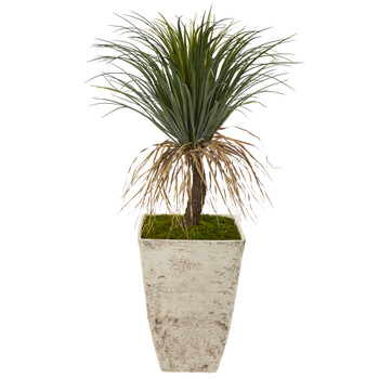 44 Pony Tail Palm Artificial Plant in Country White Planter - SKU #T1072