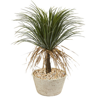 32 Pony Tail Palm Artificial Plant in White Planter - SKU #T1073