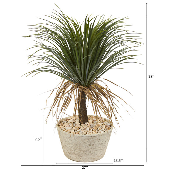 32 Pony Tail Palm Artificial Plant in White Planter - SKU #T1073 - 1