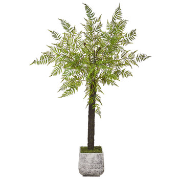 6 Forest Fern Artificial Tree in White Planter - SKU #T1089