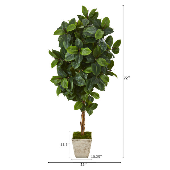 6 Rubber Leaf Artificial Tree in Country White Planter - SKU #T1091 - 1