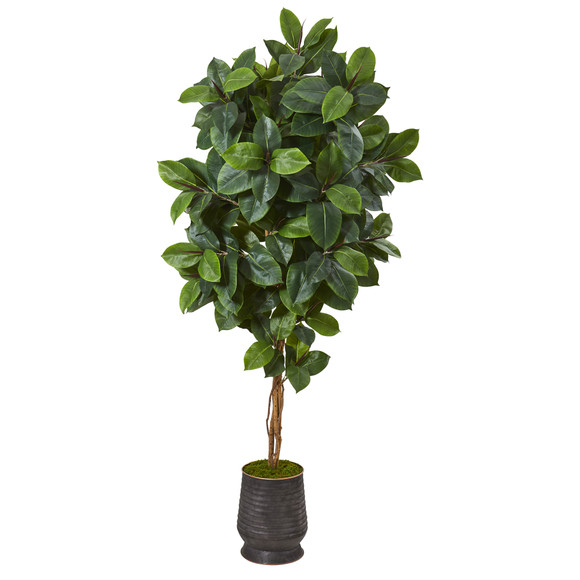 78 Rubber Leaf Artificial Tree in Ribbed Metal Planter - SKU #T1092