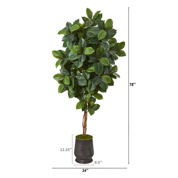 78 Rubber Leaf Artificial Tree in Ribbed Metal Planter - SKU #T1092 - 1