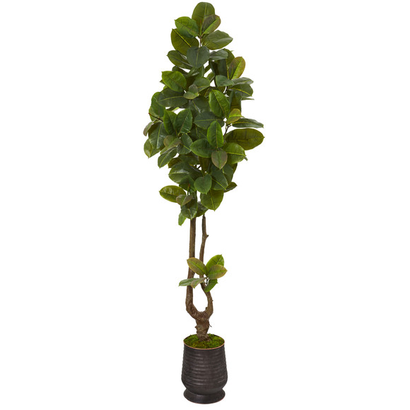 83 Rubber Leaf Artificial Tree in Ribbed Metal Planter Real Touch - SKU #T1093