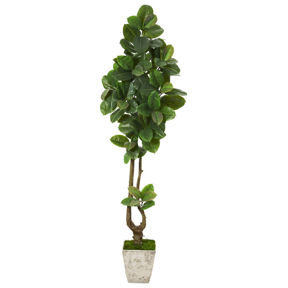 82 Rubber Leaf Artificial Tree in Country White Planter Real Touch - SKU #T1094